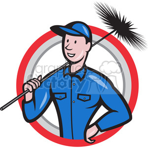 chimney sweeper standing frnt CIRC clipart. Commercial use image # 388083