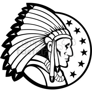 black and white indian chief side headdress 001 clipart. Commercial use image # 388103