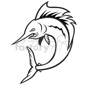 black and white sailfish jumping cartoon clipart. Royalty-free image # 388133