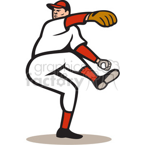 baseball pitcher leg up clipart. Royalty-free image # 388143