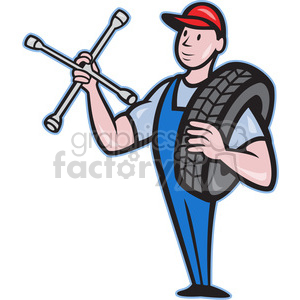 mechanical carry tyre shoulder wrench clipart. Commercial use image # 388153