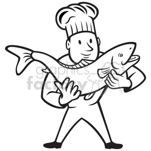 black and white chef cook holding trout fish clipart. Commercial use image # 388163