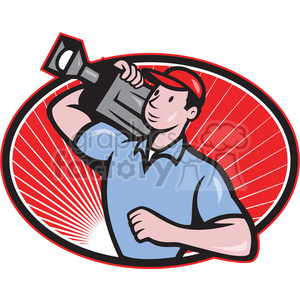 cameraman movie camera shoulder OVAL clipart. Royalty-free image # 388173