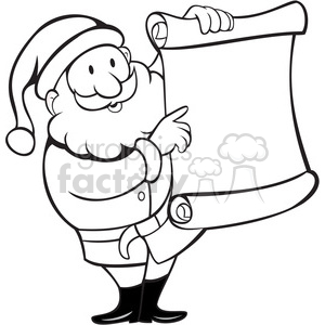 black and white santa holding blank list clipart. Commercial use image # 388193