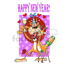 happy new year party lion with gazelle clipart. Commercial use image # 388223