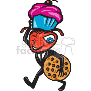 ant carry cupcake cookie clipart. Commercial use image # 388243