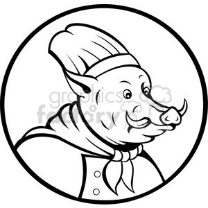 cartoon boar hog pig pigs wild animal mascot chef cook black+white hog hogs