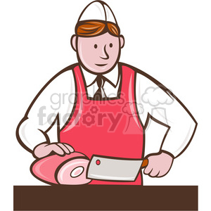 butcher chopping ham FIN clipart. Royalty-free image # 388273