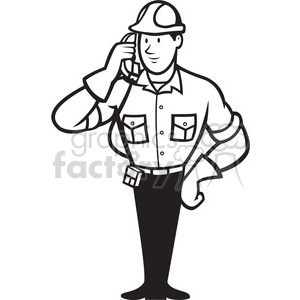black and white telephone repairman calling phone clipart. Royalty-free image # 388283