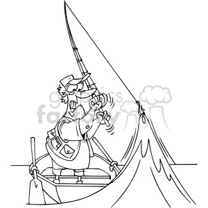 cartoon fisherman in black and white clipart. Commercial use image # 388323