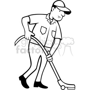 cleaner vacuuming the floor in black white clipart. Royalty-free image # 388353
