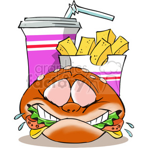 cartoon fast+food food character burger fries fry drink cola french+fries french+fry