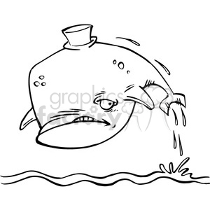 cartoon whale corked black and white clipart. Commercial use image # 388411