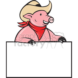pig half cowboy holding blank sign clipart. Commercial use image # 388431