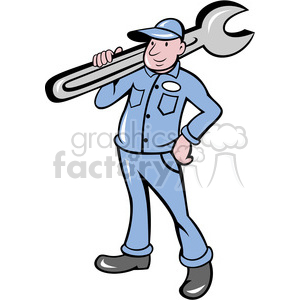 clipart - plumber carrying big wrench.