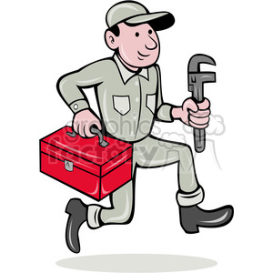 plumber with toolbox clipart. Commercial use image # 388451