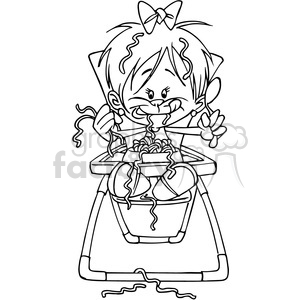 baby eating in black and white clipart. Commercial use image # 388481