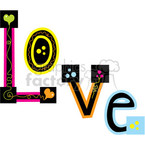 LOVE Hippie Word clipart. Commercial use image # 388561