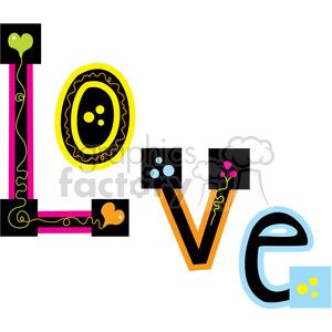 cartoon love word words hippie
