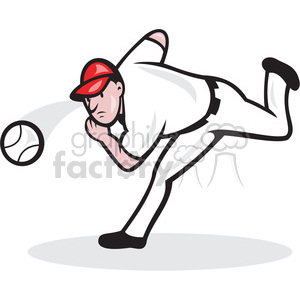 baseball player pitching a ball clipart. Commercial use image # 388621