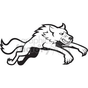 black and white wolf clipart. Commercial use image # 388631