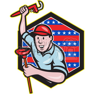 plumber with wrench and plunger clipart. Royalty-free image # 388641