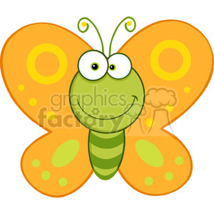 5612 Royalty Free Clip Art Smiling Butterfly Cartoon Mascot Character clipart. Commercial use image # 388691