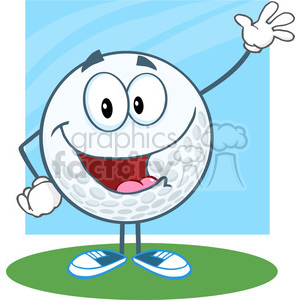 5716 Royalty Free Clip Art Happy Golf Ball Cartoon Character Waving For Greeting [Converted] clipart. Royalty-free image # 388721