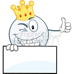 5723 Royalty Free Clip Art Winking Golf Ball With Gold Crown Holding A Thumb Up Over Sign clipart. Royalty-free image # 388743