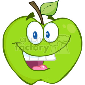 5752 Royalty Free Clip Art Smiling Green Apple Cartoon Mascot Character clipart. Royalty-free image # 388802
