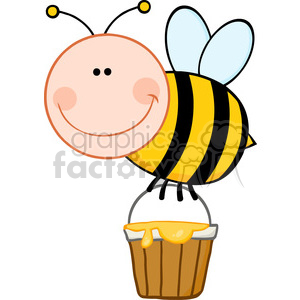 5602 Royalty Free Clip Art Smiling Bee Flying With A Honey Bucket clipart. Commercial use image # 388822