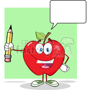 5787 Royalty Free Clip Art Happy Red Apple Holding Up A Pencil With Speech Bubble clipart. Royalty-free image # 388832