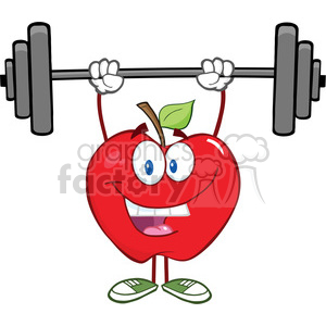 5774 Royalty Free Clip Art Smiling Apple Cartoon Character Lifting Weights