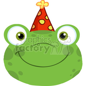 5649 Royalty Free Clip Art Cute Frog Smiling Head With Birthday Hat clipart. Royalty-free image # 388851