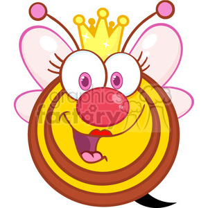 5586 Royalty Free Clip Art Happy Queen Bee Cartoon Mascot Character