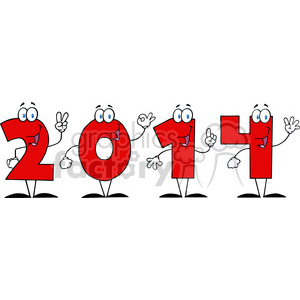 5664 Royalty Free Clip Art 2014 New Year Numbers Cartoon Characters clipart. Royalty-free image # 388883