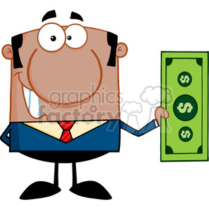 5569 Royalty Free Clip Art Smiling African American Business Man Holding A Dollar Bill clipart. Royalty-free image # 388903