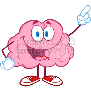 5864 Royalty Free Clip Art Happy Brain Character Pointing With A Finger clipart. Royalty-free image # 388913