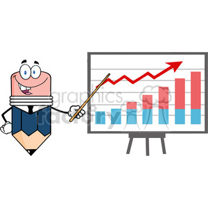 5893 Royalty Free Clip Art Business Pencil Cartoon Character With Pointer Presenting A Progressive Chart clipart. Royalty-free image # 388923