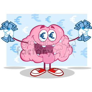 5834 Royalty Free Clip Art Euro Money Loving Brain Cartoon Character clipart. Royalty-free image # 388963