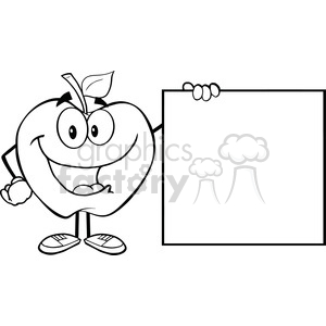 5954 Royalty Free Clip Art Happy Apple Cartoon Character Showing A Blank Sign clipart. Royalty-free image # 388973