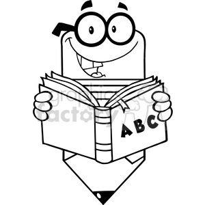 5915 Royalty Free Clip Art Smiling Pencil Teacher Character Reading A Shool Book clipart. Royalty-free image # 388983