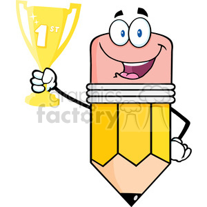 5935 Royalty Free Clip Art Happy Pencil Cartoon Character Holding Golden Trophy Cup clipart. Royalty-free image # 389003