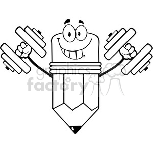 5901 Royalty Free Clip Art Smiling Pencil Cartoon Character Training With Dumbbells clipart. Commercial use image # 389023
