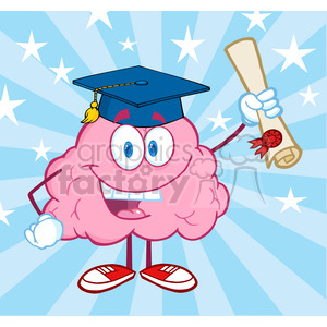 5846 Royalty Free Clip Art Happy Brain Character Graduate Holding up A Diploma clipart. Commercial use image # 389033