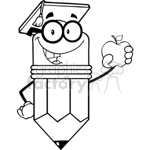 5945 Royalty Free Clip Art Pencil Teacher With Graduate Hat Holding A Red Apple clipart. Royalty-free image # 389043