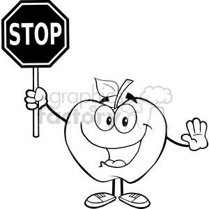 5964 Royalty Free Clip Art Apple Cartoon Mascot Character Holding A Stop Sign clipart. Royalty-free image # 389063