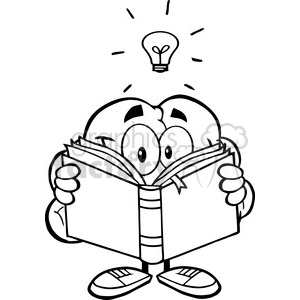5990 Royalty Free Clip Art Smiling Brain Cartoon Character Reading A Book Under Light Bulb clipart. Royalty-free image # 389103