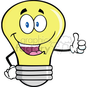 6127 Royalty Free Clip Art Light Bulb Cartoon Mascot Character Giving A Thumb Up clipart. Royalty-free image # 389113