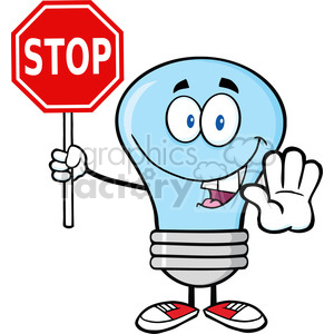 6065 Royalty Free Clip Art Blue Light Bulb Cartoon Character Holding A Stop Sign clipart. Royalty-free image # 389133